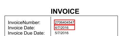 Sample invoice where the invoice number and invoice date are located within specific rectangle on the page