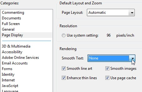 Text Smoothing Preference in Adobe Reader