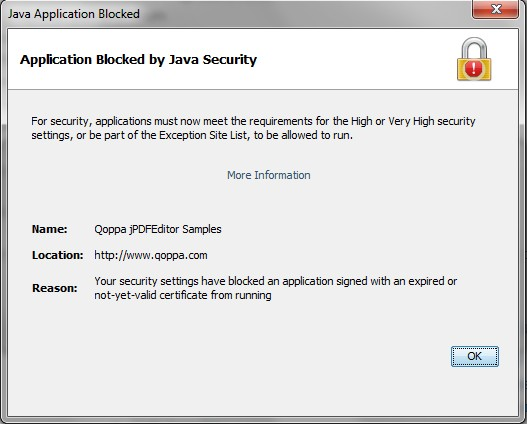 Your security settings have blocked an application signed with an expired certificate from running