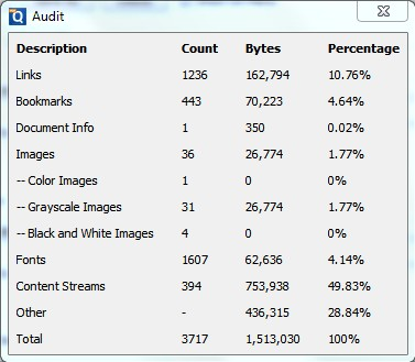 Auditing a PDF for Optimizing (Analyze Objects and Sizes