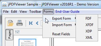 Look under the Forms Menu Entry in jPDFViewer Sample Demo App for options to export and import form field data